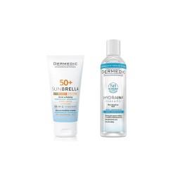 DERMEDIC SUNBRELLA Krem ochronny do skóry suchej i normalej + Płyn micelarny Hydrain 3 Hialuro, 50 g