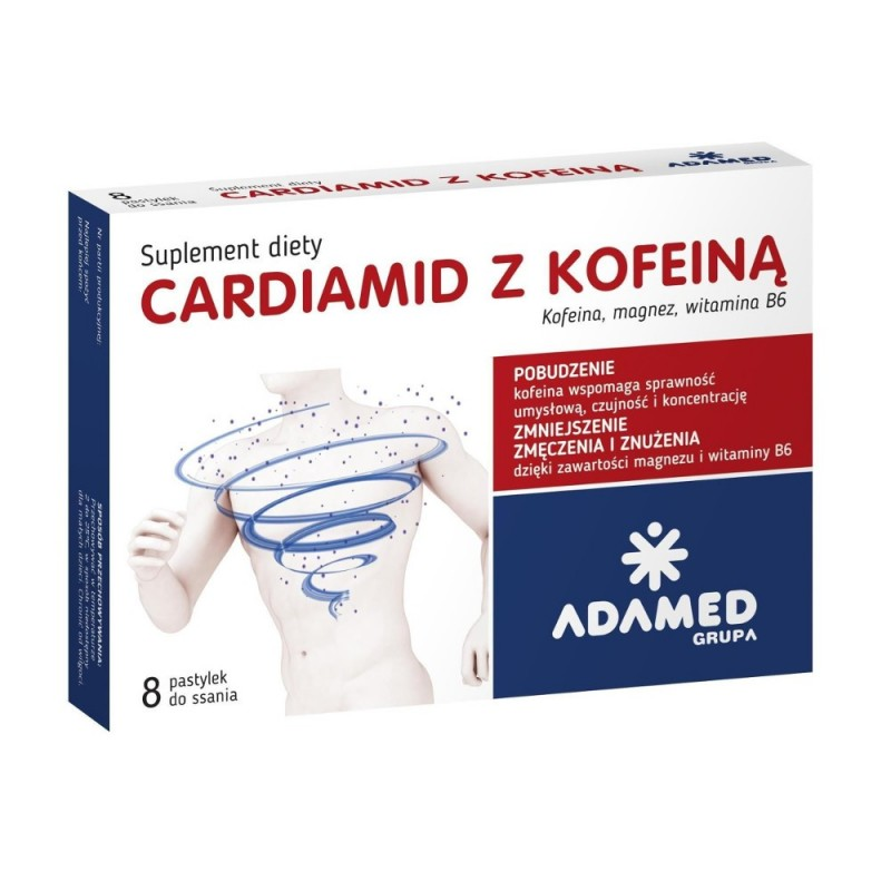 CARDIAMID Z KOFEINĄ, 8 tabletek do ssania o smaku cytrusowym, ADAMED