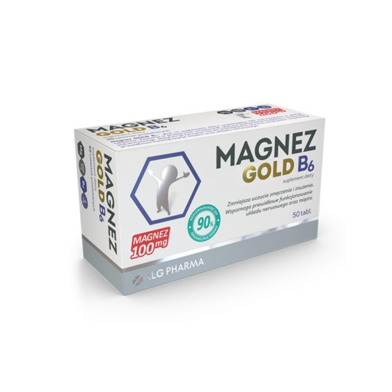 Magnez Gold B6 tabl. 0,1gMg 50tabl.(5blist
