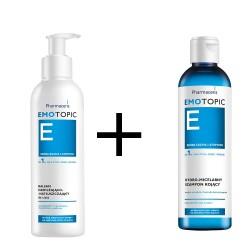 EMOTOPIC Zestaw: Balsam nawilżająco-natłuszczający do ciała 400 ml+ Hydro-micelarny szampon kojący 125 ml, 1 sztuka, Pharmaceris