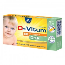 Edytuj: D-Vitum DHA, 600 j.m. witaminy D, 30 kapsułek twist-off