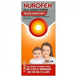 Nurofen dla dzieci Forte truskawkowy, 40mg/ml, zawiesina doustna, 50 ml