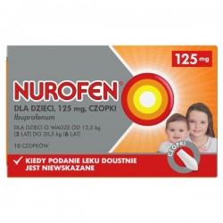 Nurofen, 125mg, czopki dla dzieci od 2 roku życia, 10 sztuk