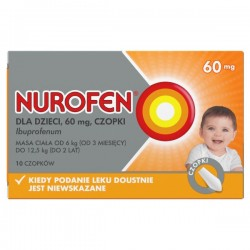 Nurofen, 60mg, czopki dla dzieci od 3 miesiąca życia, 10 sztuk