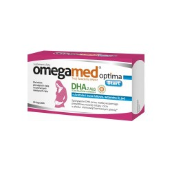 Omegamed Optima Start DHA, witamina D, actifolin, jod, 30 kapsułek, POLSKI LEK