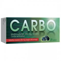 Carbo Medicinalis MF, 250 mg, 20 tabletek