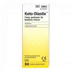 Keto-Diastix, testy paskowe do badania moczu, 50 sztuk
