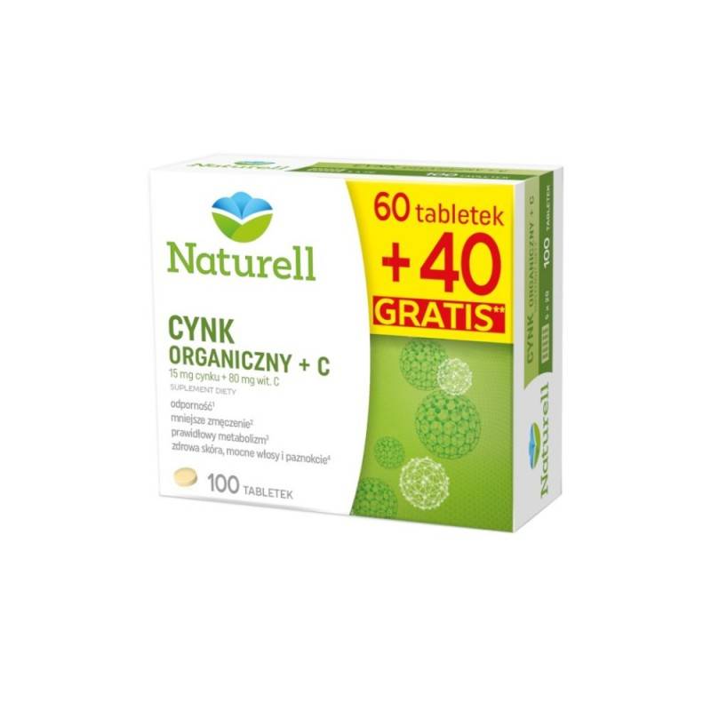 NATURELL, Cynk Organiczny + C, 100 tabletek
