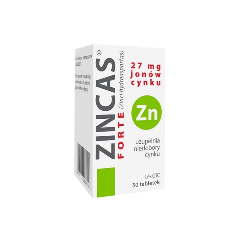 Zincas forte, 27 mg jonów cynku, 50 tabletek