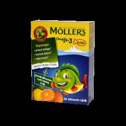 Mollers Omega-3 Rybki, 36 żelki o smaku pomarańczowo-cytrynowym, ORKLA