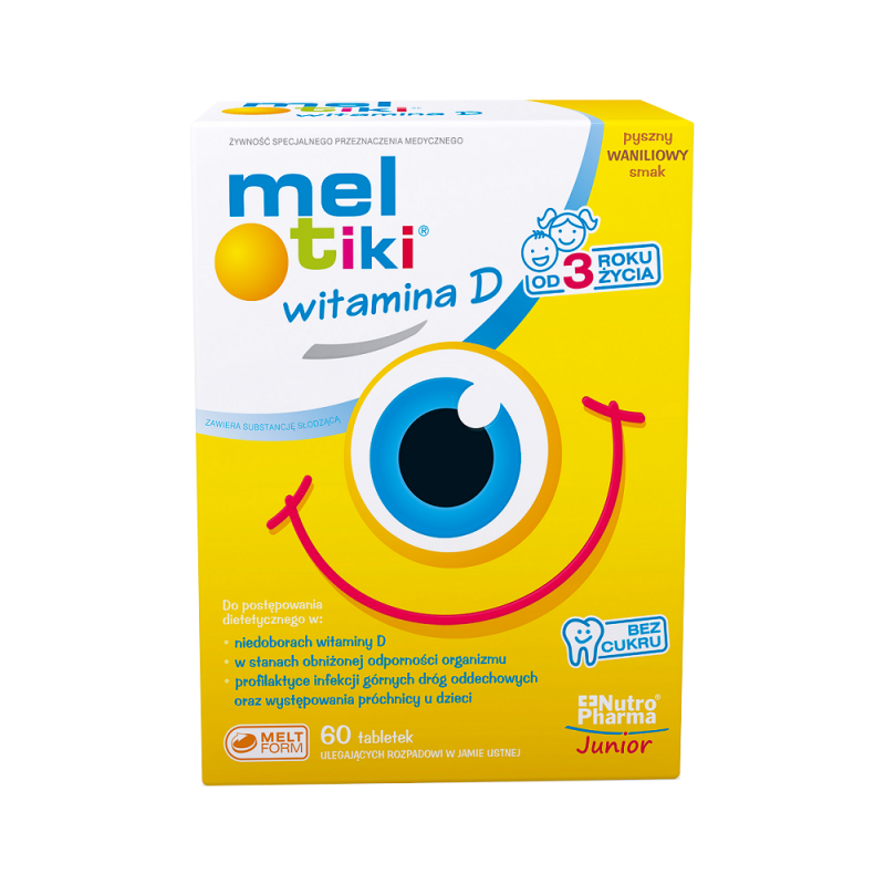 Mel-tiki Witamina D 3+ 60 tabletek do ssania , NUTROPHARMA