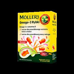 Mollers Omega-3 Rybki, 36 żelki o smaku owocowym, ORKLA